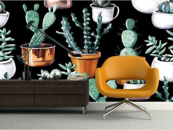 Papier peint moderne pots de cactus cuivré