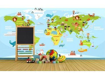 Papier peint enfant carte du monde