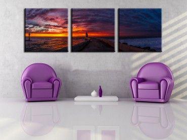 Tableau paysage coucher de soleil sur la côte landaise