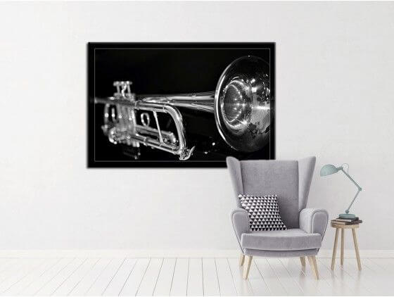 Tableau noir et blanc trompette