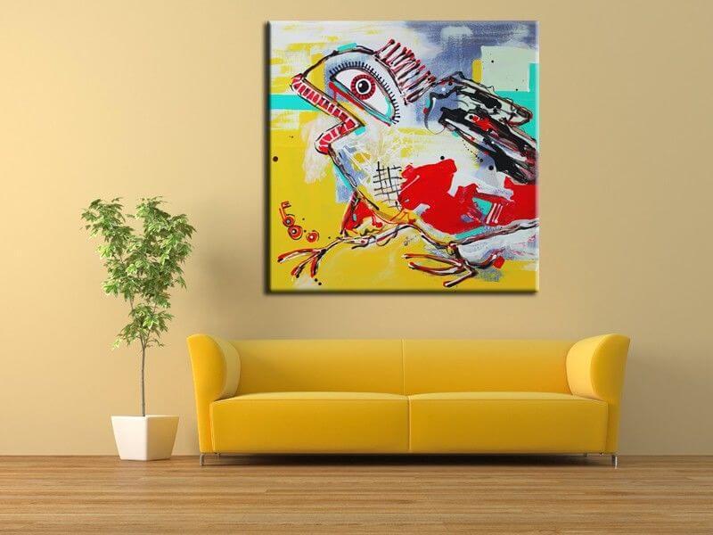 Tableau contemporain abstrait oiseau sur toile plexi alu - Tableaux tryptiques contemporains ...