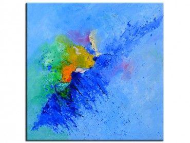 Tableau art abstrait vague de bleu