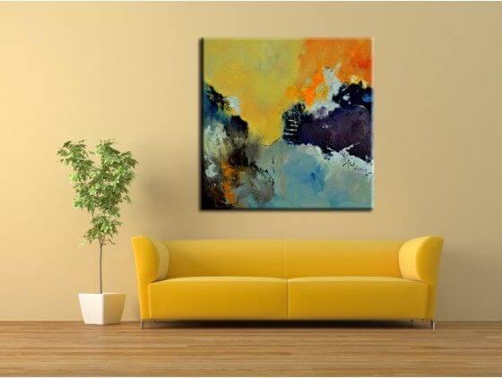 Tableau abstrait effet peinture pas cher boutique hexoa - Tableau rectangulaire zen ...