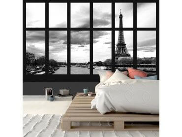 Papier peint noir et blanc vue sur Paris