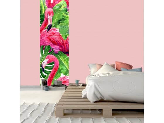 papier peint tropical flamants roses pas cher d co hexoa. Black Bedroom Furniture Sets. Home Design Ideas