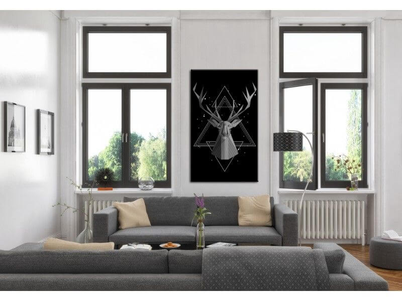 tableau deco t te de cerf en origami pas cher d co murale. Black Bedroom Furniture Sets. Home Design Ideas