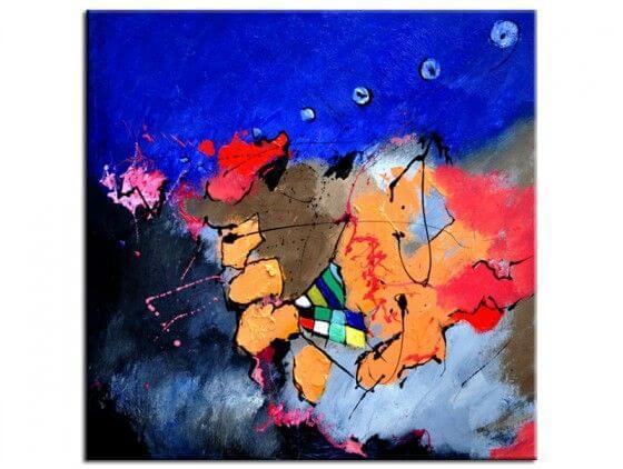 Tableau peinture abstraite jeu de couleurs