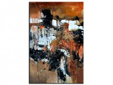 Tableau abstrait terre brune