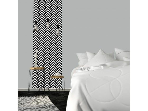 l de papier peint graphique noir et blanc pas cher. Black Bedroom Furniture Sets. Home Design Ideas