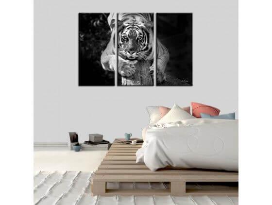 tableau animaux tigre en noir et blanc pas cher deco hexoa. Black Bedroom Furniture Sets. Home Design Ideas