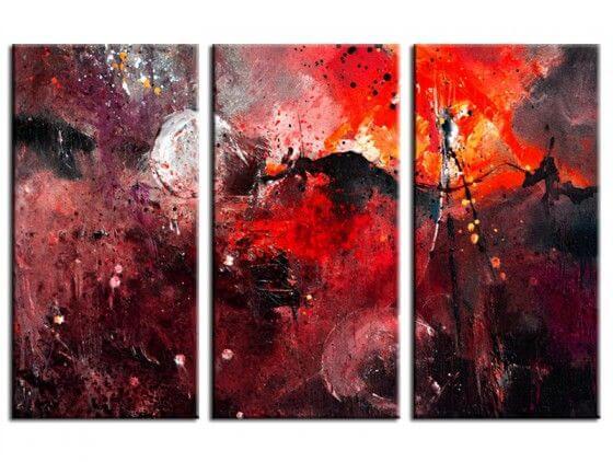 Tableau abstrait rouge galaxie