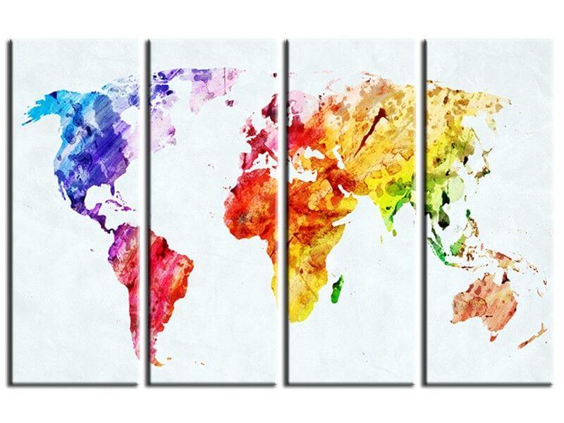 tableau carte du monde artistique multicouleure pas cher. Black Bedroom Furniture Sets. Home Design Ideas