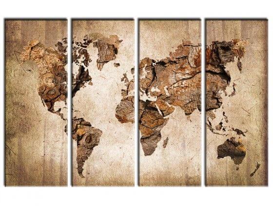 Tableau carte du monde effet bois