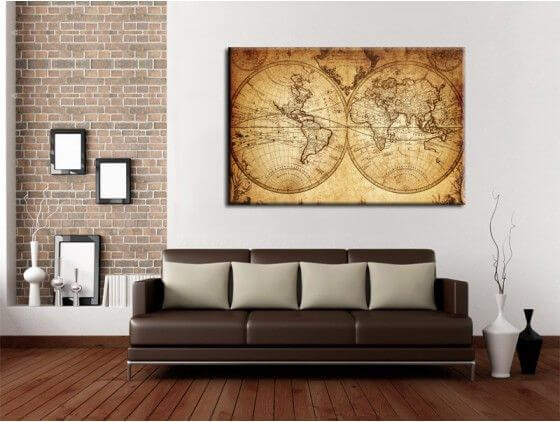 tableau deco mappemonde ancienne carte du monde. Black Bedroom Furniture Sets. Home Design Ideas
