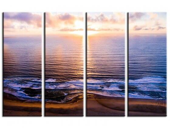 Tableau photo coucher de soleil sur l'océan atlantique
