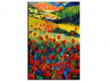 Tableau fleurs champ de coquelicot en Provence