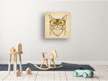 Tableau chaton à lunettes intello