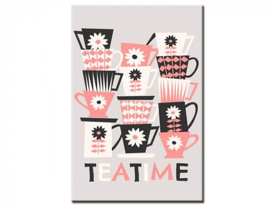 Tableau rétro tasses tea time