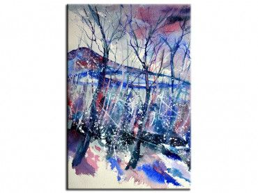 Tableau deco aquarelle forêt hivernale