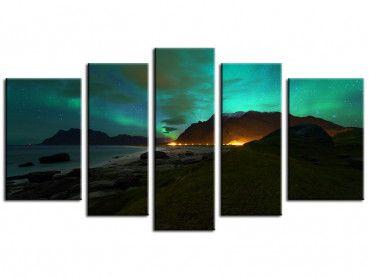 Tableau deco paysage Norvège aurore boréale
