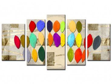Tableau art abstrait motifs colorés