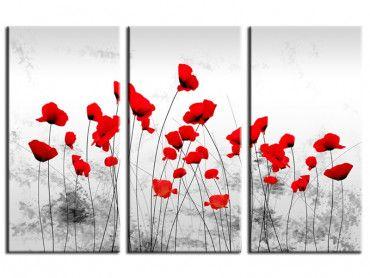 Tableau fleurs contemporain coquelicots