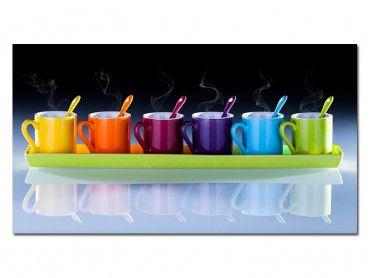 Tableau déco design tasses à café multicouleurs