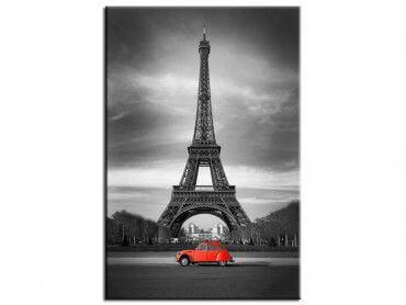 Tableau design Tour Eiffel et voiture rouge