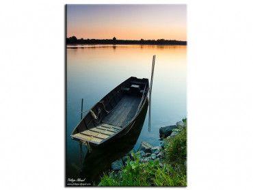 Tableau paysage barque sur coucher de soleil