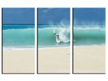 Tableau paysage plage et surfeur