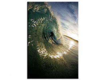 Tableau photo reflet du soleil et surfeur dans le tube
