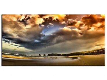 Tableau photo coucher de soleil sur la plage d'Hendaye