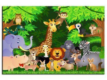 Tableau coloré déco enfant animaux d'Afrique