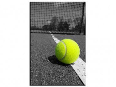 Tableau cadre noir et blanc Tennis balle jaune