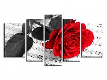 Tableau déco rose et partitions musicales