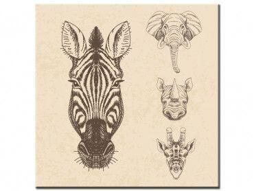 Tableau tête d'animaux savane