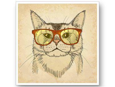 Cadre deco chaton à lunettes intello