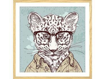 Affiche léopard à lunettes inspecteur
