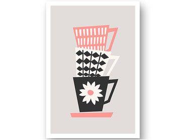 Affiche vintage trio de tasses graphiques