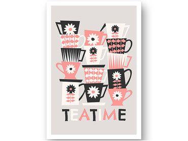 Cadre vintage tasses tea time