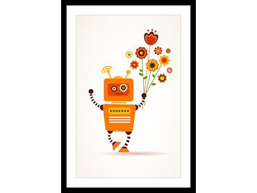 Affiche robot flowers