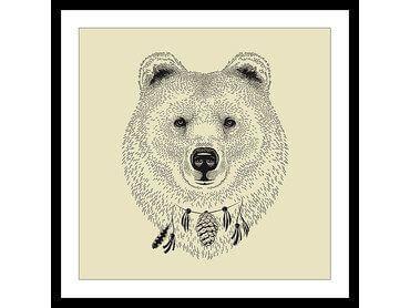 Cadre dessin ours noir et blanc
