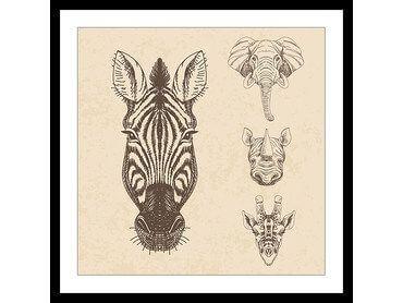 Affiche tête d'animaux savane