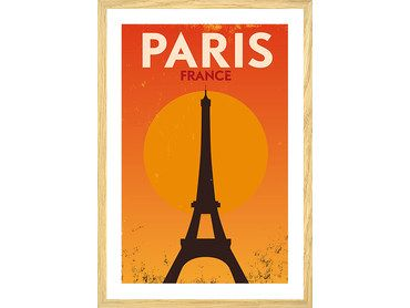 Affiche vintage orange Tour Eiffel