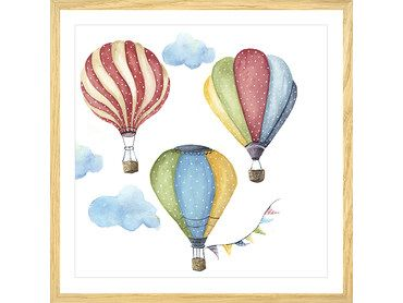 Cadre dessin trio de montgolfières