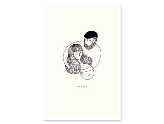 Cadre graphique un couple enlacé