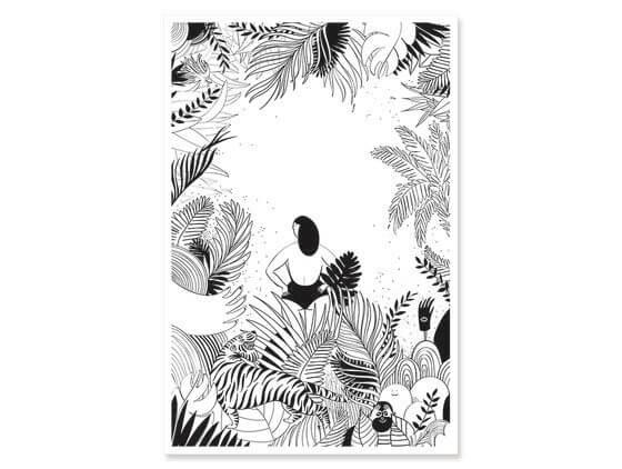 Affiche noir et blanc dans la jungle