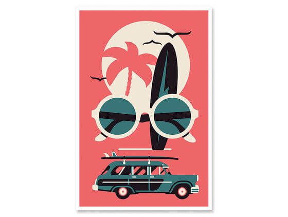 Affiche vintage surf and co