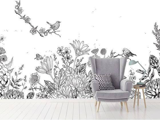 Papier peint décor floral et oiseau