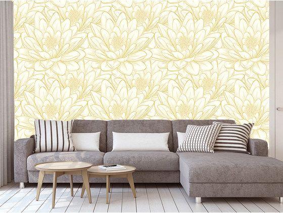 Papier peint jolies fleurs jaunes